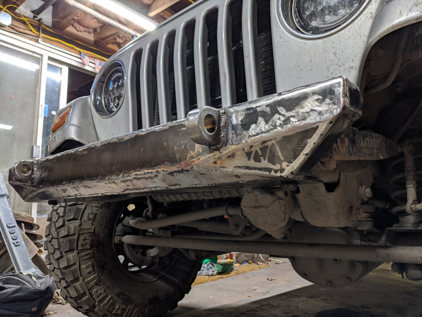 Building a home-fab TJ bumper with recovery points, and a winch plate. Get out there and fab! Part 2